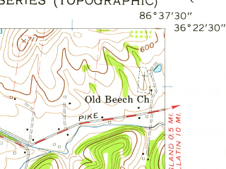 Reduced fragment of topographic map en--usgs--024k--070208--(1957)--N036-22-30_W086-45-00--N036-15-00_W086-37-30; towns and cities Goodlettsville