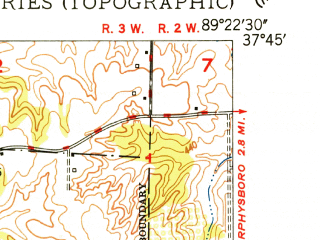 Reduced fragment of topographic map en--usgs--024k--070215--(1948)--N037-45-00_W089-30-00--N037-37-30_W089-22-30; towns and cities Gorham