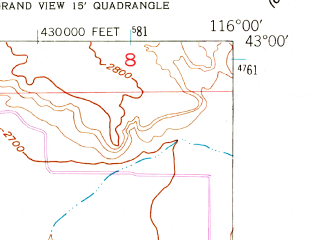 Reduced fragment of topographic map en--usgs--024k--070228--(1947)--N043-00-00_W116-07-30--N042-52-30_W116-00-00; towns and cities Grand View