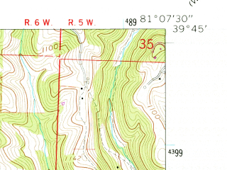 Reduced fragment of topographic map en--usgs--024k--070243--(1960)--N039-45-00_W081-15-00--N039-37-30_W081-07-30; towns and cities Graysville