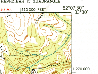 Reduced fragment of topographic map en--usgs--024k--070267--(1950)--N033-30-00_W082-15-00--N033-22-30_W082-07-30; towns and cities Fort Gordon, Grovetown
