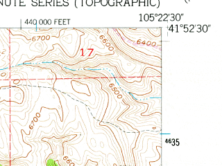 Reduced fragment of topographic map en--usgs--024k--070270--(1955)--N041-52-30_W105-30-00--N041-45-00_W105-22-30