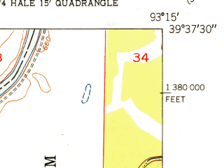 Reduced fragment of topographic map en--usgs--024k--070287--(1951)--N039-37-30_W093-22-30--N039-30-00_W093-15-00; towns and cities Hale