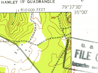 Reduced fragment of topographic map en--usgs--024k--070295--(1949)--N035-00-00_W079-45-00--N034-52-30_W079-37-30; towns and cities Hamlet, Dobbins Heights