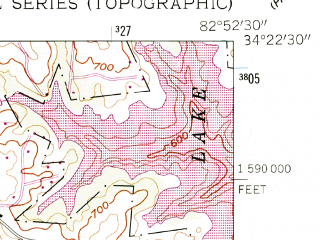Reduced fragment of topographic map en--usgs--024k--070325--(1959)--N034-22-30_W083-00-00--N034-15-00_W082-52-30; towns and cities Hartwell