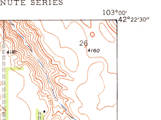 Reduced fragment of topographic map en--usgs--024k--070357--(1948)--N042-22-30_W103-07-30--N042-15-00_W103-00-00; towns and cities Hemingford