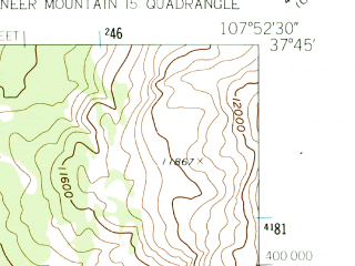 Reduced fragment of topographic map en--usgs--024k--070365--(1960)--N037-45-00_W108-00-00--N037-37-30_W107-52-30