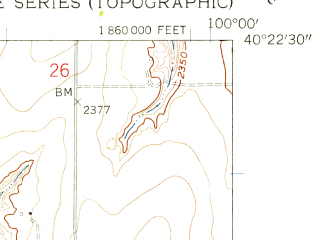 Reduced fragment of topographic map en--usgs--024k--070393--(1958)--N040-22-30_W100-07-30--N040-15-00_W100-00-00; towns and cities Holbrook