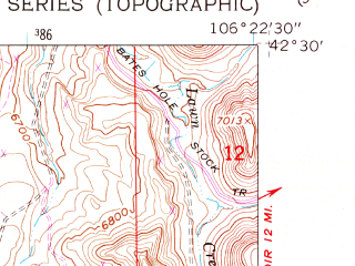Reduced fragment of topographic map en--usgs--024k--070416--(1960)--N042-30-00_W106-30-00--N042-22-30_W106-22-30
