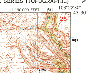 Reduced fragment of topographic map en--usgs--024k--070422--(1950)--N043-30-00_W103-30-00--N043-22-30_W103-22-30; towns and cities Hot Springs