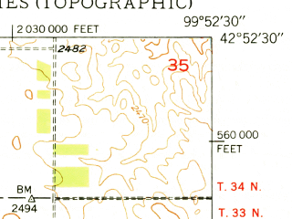 Reduced fragment of topographic map en--usgs--024k--070434--(1950)--N042-52-30_W100-00-00--N042-45-00_W099-52-30