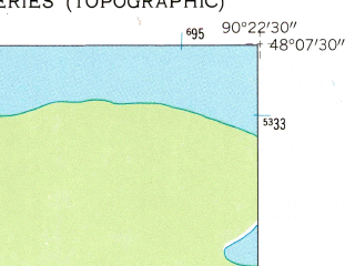 Reduced fragment of topographic map en--usgs--024k--070440--(1959)--N048-07-30_W090-30-00--N048-00-00_W090-22-30 in area of Rose Lake