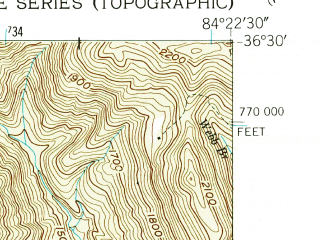 Reduced fragment of topographic map en--usgs--024k--070443--(1953)--N036-30-00_W084-30-00--N036-22-30_W084-22-30; towns and cities Huntsville