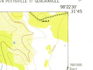 Reduced fragment of topographic map en--usgs--024k--070460--(1956)--N031-45-00_W098-30-00--N031-37-30_W098-22-30