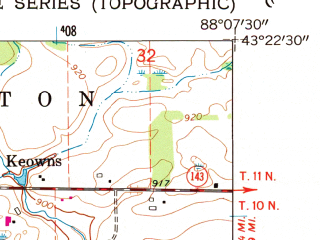 Reduced fragment of topographic map en--usgs--024k--070484--(1959)--N043-22-30_W088-15-00--N043-15-00_W088-07-30; towns and cities Jackson