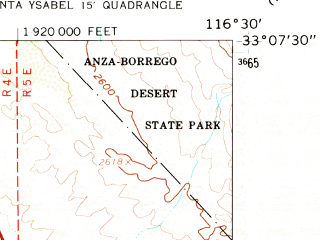 Reduced fragment of topographic map en--usgs--024k--070515--(1960)--N033-07-30_W116-37-30--N033-00-00_W116-30-00; towns and cities Julian