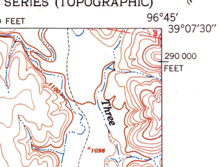 Reduced fragment of topographic map en--usgs--024k--070516--(1950)--N039-07-30_W096-52-30--N039-00-00_W096-45-00; towns and cities Junction City, Fort Riley North, Camp Forsyth, Fort Riley-camp Whiteside, Grandview Plaza