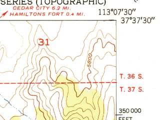 Reduced fragment of topographic map en--usgs--024k--070528--(1951)--N037-37-30_W113-15-00--N037-30-00_W113-07-30; towns and cities Kanarraville