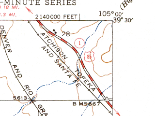 Reduced fragment of topographic map en--usgs--024k--070532--(1945)--N039-30-00_W105-07-30--N039-22-30_W105-00-00