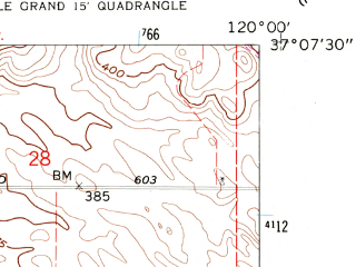Reduced fragment of topographic map en--usgs--024k--070578--(1961)--N037-07-30_W120-07-30--N037-00-00_W120-00-00; towns and cities Madera Acres