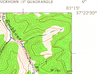Reduced fragment of topographic map en--usgs--024k--070595--(1961)--N037-22-30_W083-22-30--N037-15-00_W083-15-00