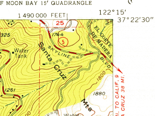 Reduced fragment of topographic map en--usgs--024k--070600--(1955)--N037-22-30_W122-22-30--N037-15-00_W122-15-00
