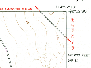 Reduced fragment of topographic map en--usgs--024k--070612--(1955)--N032-52-30_W114-30-00--N032-45-00_W114-22-30 in area of Mittry Lake