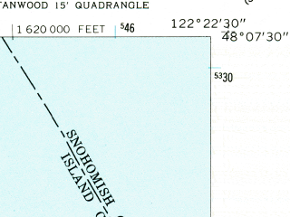 Reduced fragment of topographic map en--usgs--024k--070649--(1956)--N048-07-30_W122-30-00--N048-00-00_W122-22-30; towns and cities Langley