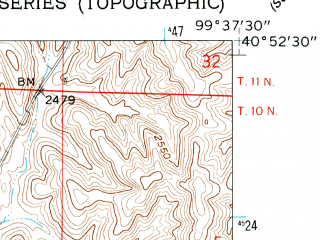 Reduced fragment of topographic map en--usgs--024k--070684--(1962)--N040-52-30_W099-45-00--N040-45-00_W099-37-30; towns and cities Lexington