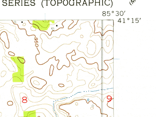 Reduced fragment of topographic map en--usgs--024k--070745--(1956)--N041-15-00_W085-37-30--N041-07-30_W085-30-00; towns and cities Larwill
