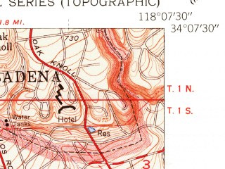Reduced fragment of topographic map en--usgs--024k--070747--(1953)--N034-07-30_W118-15-00--N034-00-00_W118-07-30; towns and cities East Los Angeles, Alhambra, Monterey Park, South Pasadena, Vernon