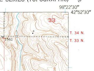 Reduced fragment of topographic map en--usgs--024k--070772--(1950)--N042-52-30_W098-30-00--N042-45-00_W098-22-30; towns and cities Lynch
