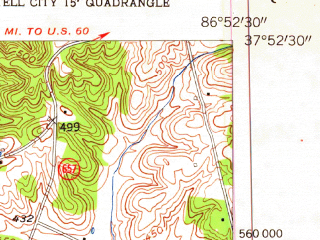 Reduced fragment of topographic map en--usgs--024k--070778--(1953)--N037-52-30_W087-00-00--N037-45-00_W086-52-30