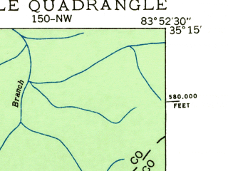Reduced fragment of topographic map en--usgs--024k--070810--(1935)--N035-15-00_W084-00-00--N035-07-30_W083-52-30