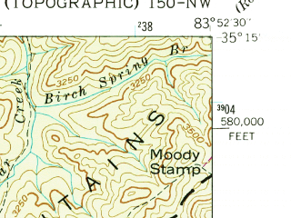 Reduced fragment of topographic map en--usgs--024k--070810--(1938)--N035-15-00_W084-00-00--N035-07-30_W083-52-30