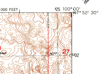 Reduced fragment of topographic map en--usgs--024k--070826--(1951)--N047-52-30_W100-07-30--N047-45-00_W100-00-00; towns and cities Martin