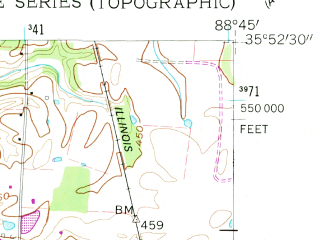 Reduced fragment of topographic map en--usgs--024k--070864--(1959)--N035-52-30_W088-52-30--N035-45-00_W088-45-00; towns and cities Gibson, Medina