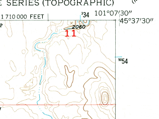 Reduced fragment of topographic map en--usgs--024k--070922--(1956)--N045-37-30_W101-15-00--N045-30-00_W101-07-30