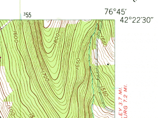 Reduced fragment of topographic map en--usgs--024k--070947--(1950)--N042-22-30_W076-52-30--N042-15-00_W076-45-00; towns and cities Millport, Montour Falls, Odessa