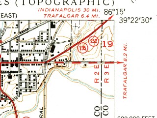 Reduced fragment of topographic map en--usgs--024k--070962--(1950)--N039-22-30_W086-22-30--N039-15-00_W086-15-00; towns and cities Morgantown