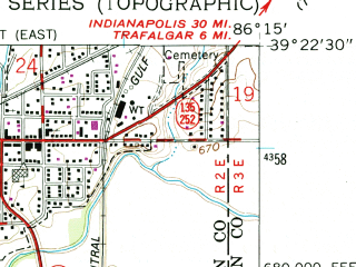 Reduced fragment of topographic map en--usgs--024k--070962--(1961)--N039-22-30_W086-22-30--N039-15-00_W086-15-00; towns and cities Morgantown
