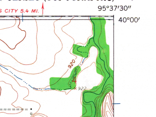 Reduced fragment of topographic map en--usgs--024k--070965--(1959)--N040-00-00_W095-45-00--N039-52-30_W095-37-30; towns and cities Hamlin, Morrill