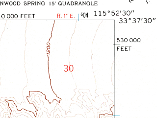 Reduced fragment of topographic map en--usgs--024k--070968--(1958)--N033-37-30_W116-00-00--N033-30-00_W115-52-30