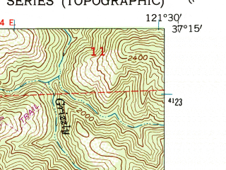Reduced fragment of topographic map en--usgs--024k--070994--(1955)--N037-15-00_W121-37-30--N037-07-30_W121-30-00