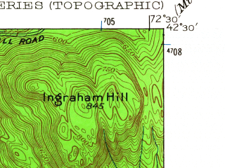 Reduced fragment of topographic map en--usgs--024k--070996--(1955)--N042-30-00_W072-37-30--N042-22-30_W072-30-00; towns and cities Amherst, North Amherst, South Deerfield