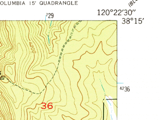 Reduced fragment of topographic map en--usgs--024k--071013--(1948)--N038-15-00_W120-30-00--N038-07-30_W120-22-30; towns and cities Murphys