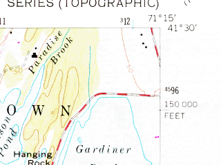 Reduced fragment of topographic map en--usgs--024k--071053--(1957)--N041-30-00_W071-22-30--N041-22-30_W071-15-00; towns and cities Newport