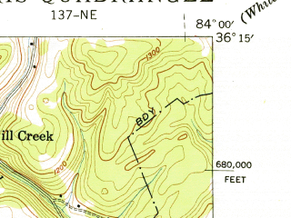 Reduced fragment of topographic map en--usgs--024k--071070--(1941)--N036-15-00_W084-07-30--N036-07-30_W084-00-00; towns and cities Norris