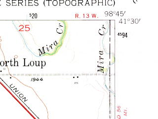Reduced fragment of topographic map en--usgs--024k--071075--(1953)--N041-30-00_W098-52-30--N041-22-30_W098-45-00; towns and cities North Loup