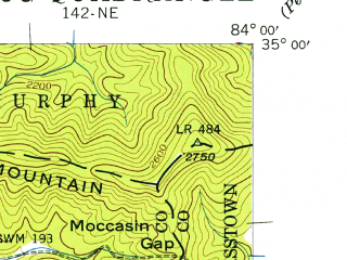 Reduced fragment of topographic map en--usgs--024k--071082--(1941)--N035-00-00_W084-07-30--N034-52-30_W084-00-00